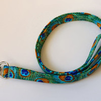 Peacock Lanyard / Peacock Feathers / Boho Keychain / Bohemian / Key Lanyard / Green & Gold / Turquoise / ID Badge Holder