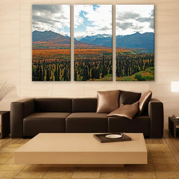 Alaska Wilderness Mountains Print 3 Panels Print Wall Decor Fine Art Landscape Photography Repro Print for Home and Office Wall Decoration