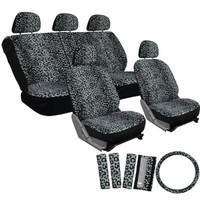 OxGord® 17pc Set Leopard Animal Print / Auto Gray Seat Covers Set - Airbag Compatible - Front Low Back Buckets - 50/50 or 60/40 Rear Split Bench - 5 Head Rests - Universal Fit for Car, Truck, Suv, or Van - FREE Steering Wheel Cover