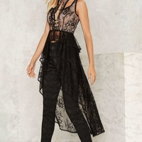 Nasty Gal Out of the Shadows Lace Maxi Top