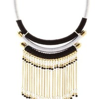 Multi Mixed Media Rope & Fringe Statement Necklace by Charlotte Russe
