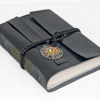 Black Faux Leather Journal with Eye Cameo Bookmark
