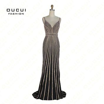 Real Photos Jersey Crystal Black Color V Neck Party Occasion Formal Long Prom Dress OL102870