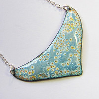 Gray and gold heart crescent necklace, blue yellow enameled copper bohemian jewelry, simple art deco bib pendant