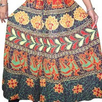 Hippie Maxi Skirt New Hand Block Printed Cotton Long Skirts for Her, City Style