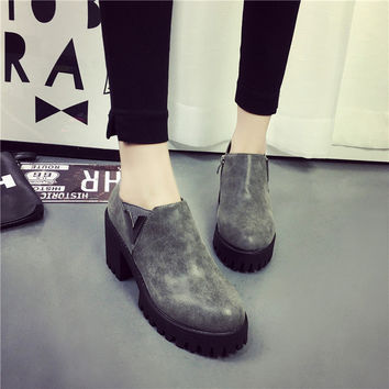 Winter Hot Sale Classics Round-toe High Heel Metal Boots [9432940234]