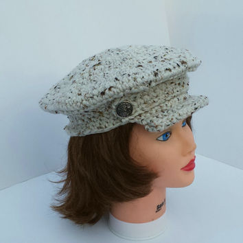 Newsboy Hat Crochet News Boy News Boy Cap with Brim Crochet Winter accessory with Visor.