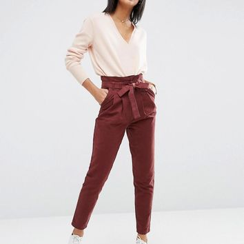 ASOS | ASOS High Waist Paperbag Straight Leg Trousers at ASOS
