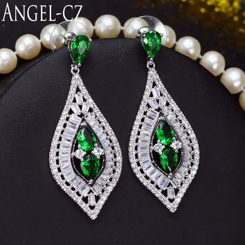 ANGELCZ Luxury Green Crystal Drop Party Long Earrings For Women 925 Sterling Silver Ear Pin Jewelry Hypoallergenic Earring AE104