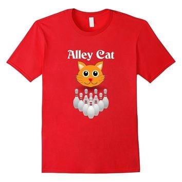 Funny Alley Cat | Graphic Bowling | Ladies Fitted T-Shirt