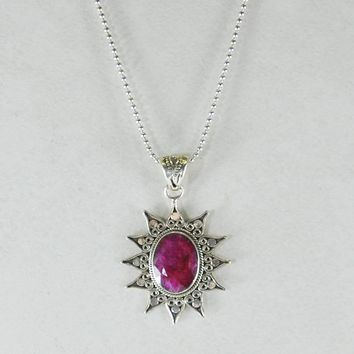 Sunburst Sterling Silver Pendant Necklace with Raw Ruby