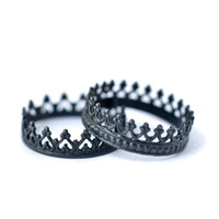King and Queen Crown Rings - Oxidized Silver Stackable Rings | LoveGem