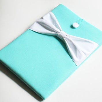 New 15 inch MacBook Pro, Retina Sleeve, Exquisite home for your Laptop, Padded Cover - Tiffany Blue Case, White Cotton Bow