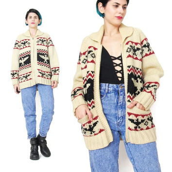 Vintage Cowichan Sweater 1960s Chunky Knit Cream Cardigan Sweater American Eagle Hand Knitted Sweater Zip Up Novelty Print Sweater (S/M)
