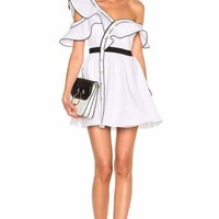 Camarie White Ruffled Off Shoulder Mini Dress