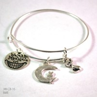Cat Lover Bangle Bracelet with Charms