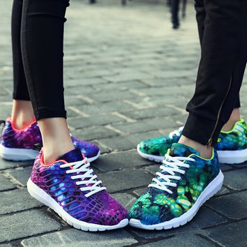 Summer sports shoes men's running shoes camouflage printing couple breathable mesh casual shoes women