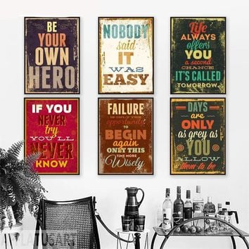 Be Your Own Hero Motivational Inspirational Canvas - Print Wall Art Decor Quote