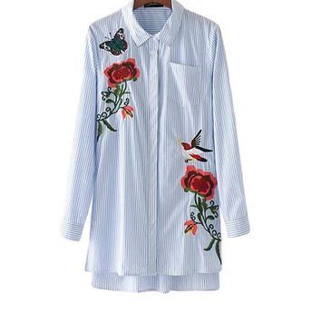 New Autumn Long Sleeve Blouse Women Floral Embroidery Stripe Shirts Single-Breasted Pockets Stripe Casual Long Tops
