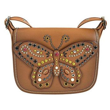 COACH PATRICIA SADDLE BAG 23 IN GLOVE CALF LEATHER WITH BUTTERFLY STUD COACH bag