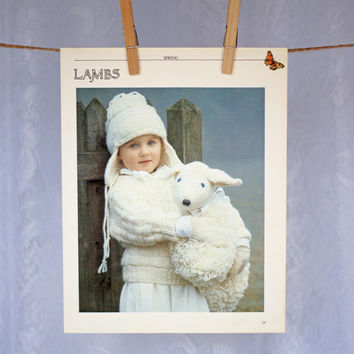 Vintage Wall Decor 'Lambs' 1980s Photographic Print, Winter Young Girl Knitting Scene Outdoors in Neutrals Cream Grey Gorgeous Nursery Decor
