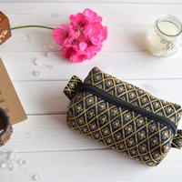 Blue box pouch zippered, Boxy pouch, Cosmetic pouch, Make Up Pouch, Toiletery bag, Project bag, Charger bag, Pencil box pouch, Travel bag