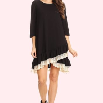 Lace Ruffle Accent Tunic Dress - Black