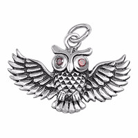 """Sterling Silver Spread Wings Owl Pendant 17MM (FREE 18"""" Chain)"""