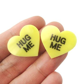 Large Hug Me Candy Heart Sweethearts Shaped Laser Cut Stud Earrings in Yellow