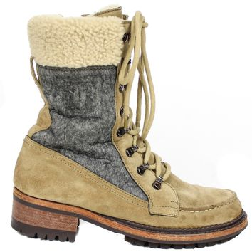 Chanel Shearling Combat Winter Boots Tan Suede