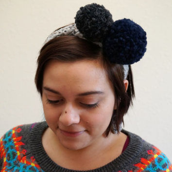 pom pom headband, pom head wrap, crochet headband, party hat, wool headband / THE POM / Grey Marble Charcoal Navy / Ready to Ship!