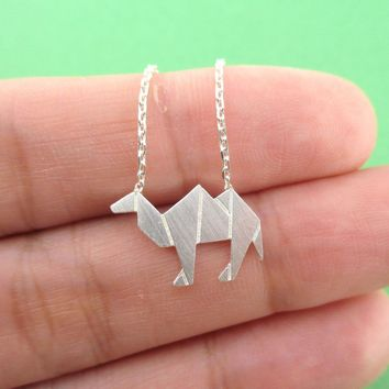 Camel Origami Shaped Pendant Necklace in Silver