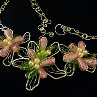 Handmade Sterling Wire Sculptured Pink and Green Flower Bib Necklace