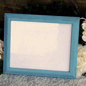 French country wall decor: Vintage antique light blue hand-painted decorative 8.5x11 wooden collage gallery picture frame for the home