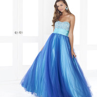 Aqua & Royal Blue Sequin & Tulle Strapless Empire Waist Prom Gown - Unique Vintage - Cocktail, Pinup, Holiday & Prom Dresses.