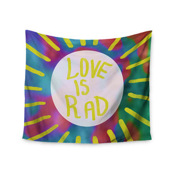 "Vasare Nar ""Love Is Rad"" Yellow Tyopgraphy Wall Tapestry"