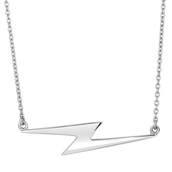 Sterling Silver Thunderbolt Lightning Sideways Pendant Fashion Necklace - 18 Inch