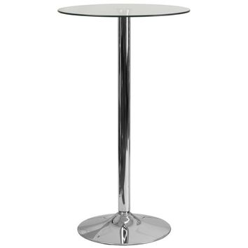 23.75'' Round Glass Table with 41.75''H Chrome Base