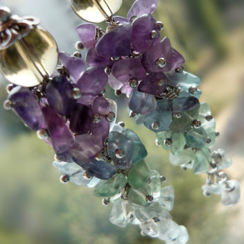 Unique multicolor stone earrings green purple blue fluorite earrings long cluster earrings stone chips jewelry women gift for her gift mom