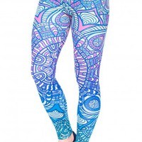 Blue Ombre High Waist Fitness Leggings