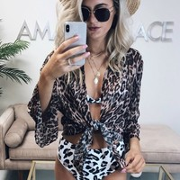 Far Away Leopard Sheer Beach Cover Up