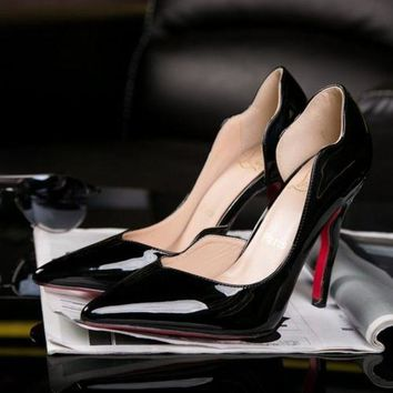 """Christian Louboutin"" Trending Ladies Edgy Wave Pointed Heels Shoes I"