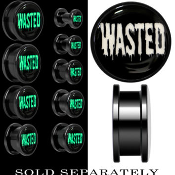 Wasted Black Glow in the Dark Screw Fit Plug in Anodized Titanium | Body Candy Body Jewelry