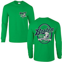 Boston Red Sox Fans. Boston: A Drinking Town With A Baseball Problem. Green Long Sleeve T Shirt (Sm-5X) (Small)