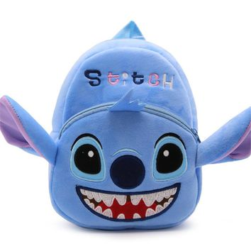 Blue Felt Bookbag STITCH School Bag for Kids 1 to 3 Years Old Children Backpack Cartoon