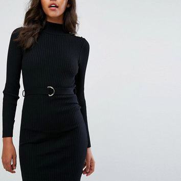 Lipsy Knitted Mini Dress with Long Sleeves with Military Button Detail at asos.com