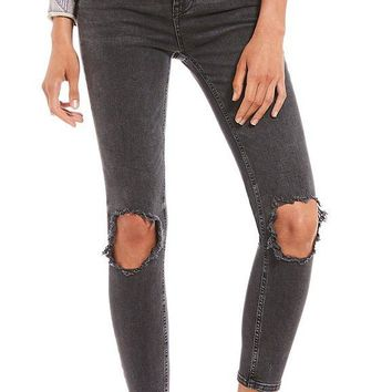 Free People High Rise Busted Skinny Black