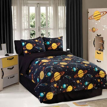 Veratex Hotel Indoor Bedroom Decorative Designer Duvet Accessories Rocket Star Comforter Set Twin Black Multi