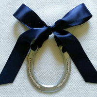 decorated horseshoe-Good Luck Hand Painted silver with Rhinestone Bling adorned with Navy Blue Satin Ribbon- Gift Tag-Decorated Horseshoe
