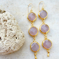 pastel Dangle Earrings bridal wedding jewelry simple,long light  rose quartz  gemstone earrings Israel